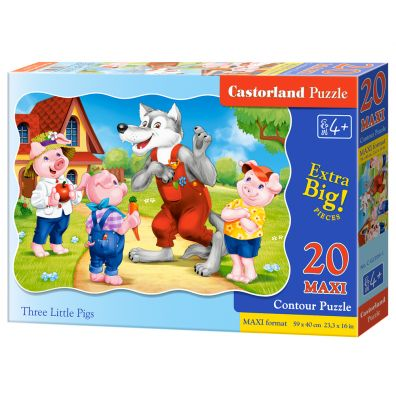 Puzzle 20 maxi - Three Little Pigs CASTOR