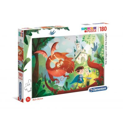 Puzzle 180 Super Kolor The Dragon an the Knight Clementoni