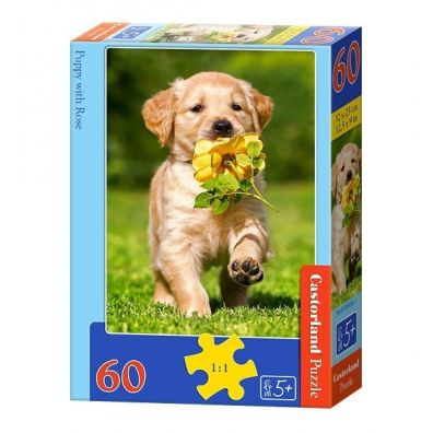 Puzzle 60 Puppy with Rose