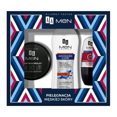 Aa Men Advanced Care żel 3w1 pod prysznic 400ml + antyperspirant w kulce 50ml + krem uniwersalny 125ml 3 szt.