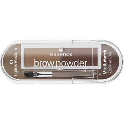 Essence Brow Powder Set zestaw do stylizacji brwi z pędzelkiem 01 Light & Medium 2.3 g