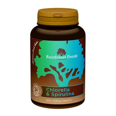 Rainforest Foods Chlorella & spirulina 300 tab. Bio