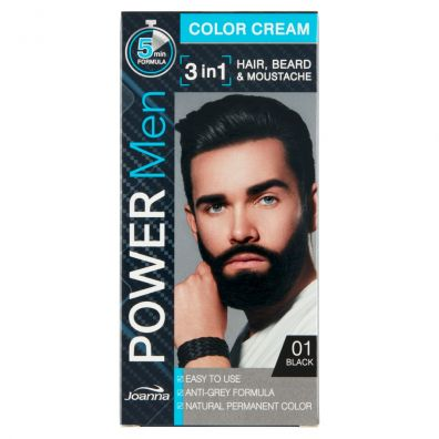 Joanna Power Men Color Cream 3in1 Hair Beard Moustache 01 Black 30 g