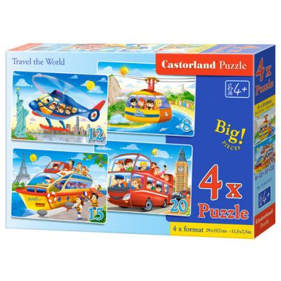 Puzzle x 4 - Travel the World CASTOR