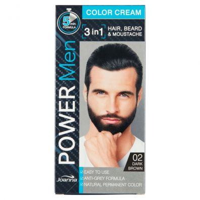 Joanna Power Men Color Cream 3in1 Hair Beard Moustache 02 Dark Brown 30 g