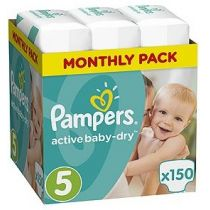 Pampers Pieluszki Junior 5 Active Baby-dry (11-16 kg) Monthly Box 150 szt.
