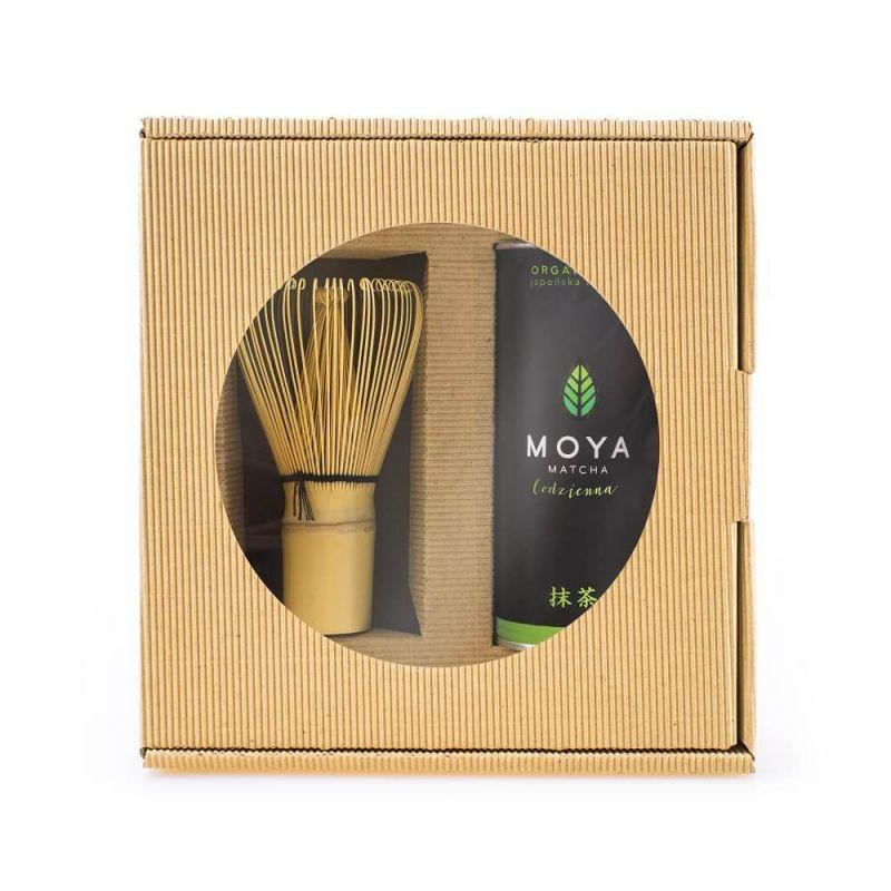 MOYA MATCHA Zestaw herbata zielona matcha w proszku codzienna + miotełka bambusowa chasen 30 g bio